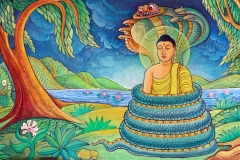 MV-Jayasiri-murals: Sheltering by naga king Mucalinda